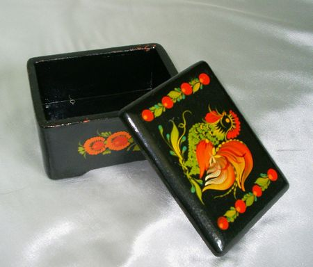 laquered: Black laquered box with a rooster
