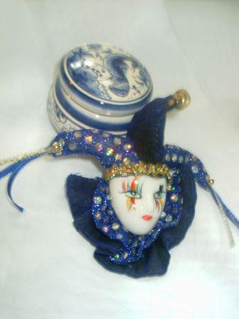 Mardi Gras mask and blue porcelain box