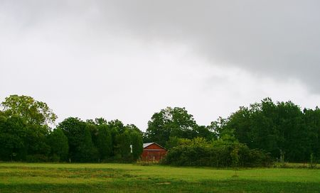 Red barn during stormy weather Stock Photo - 1828232
