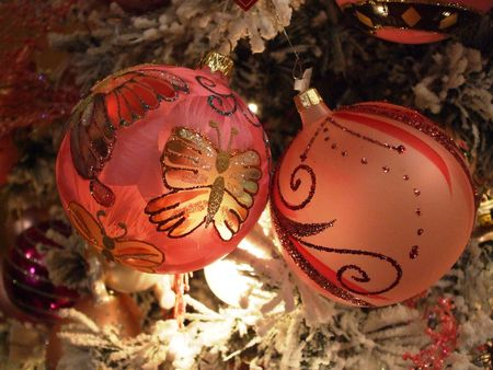 Beautiful pink Christmas ornaments