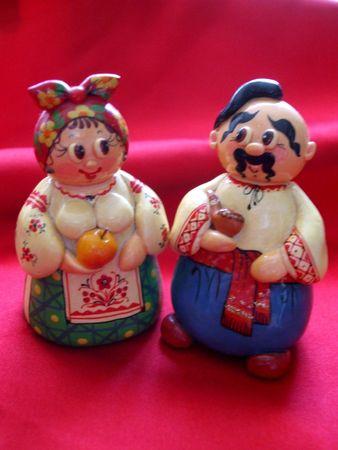 Porcelain figurines in Ukrainian costumes Banco de Imagens