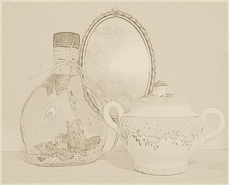 Rustic glass - sepia Illusztráció