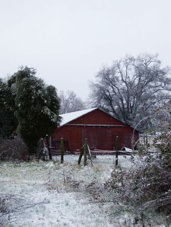 Icy landscape with red barn Stock Photo - 2397007