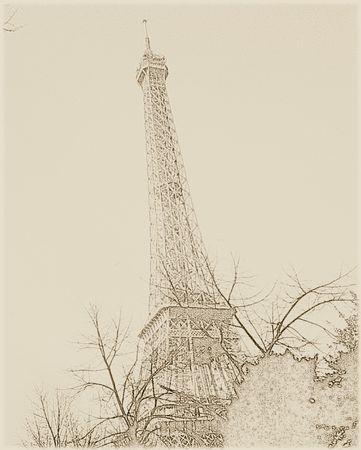 Eiffel Tower - sepia tone Stock Photo