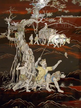 marquetry: Fresco chino de la madre-de-perla