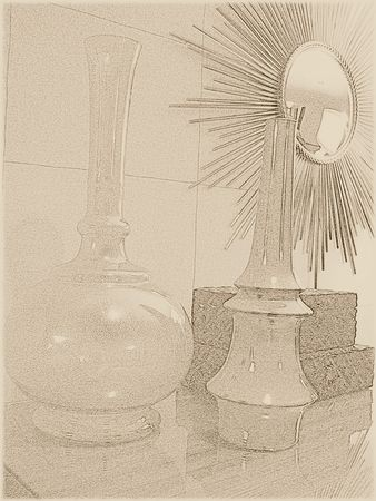 Vases and boxes - sepia
