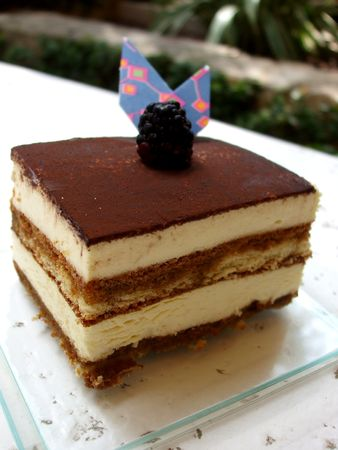 Tiramisu with decorative chocolate and a blackberry Stock Photo