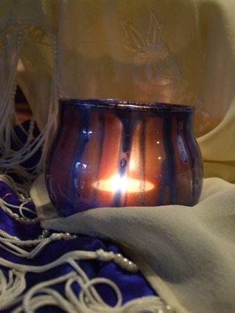 votive candle: Blue painted votive candle holder Stock Photo
