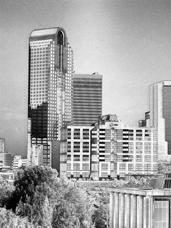 金属の銀で超高層ビル ビュー
