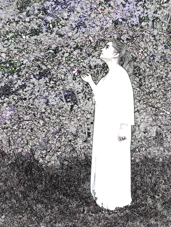 Woman in the garden - black and white illustration Banco de Imagens - 3317283