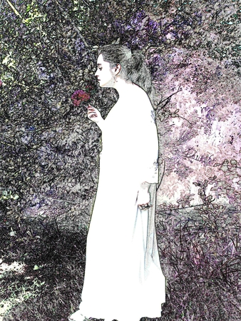 Woman in the garden - black and white illustration Ilustrace