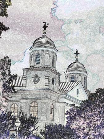 Church - black and white illustration