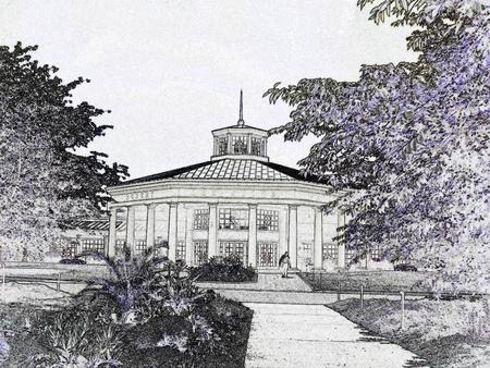 Pavilion - black and white illustration Ilustração
