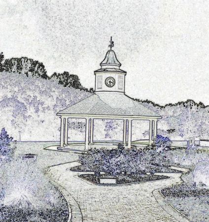 Gazebo - black and white illustration