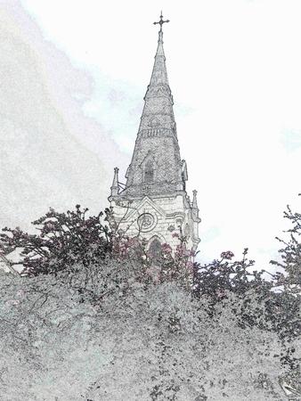 Church steeple - black and white illustration