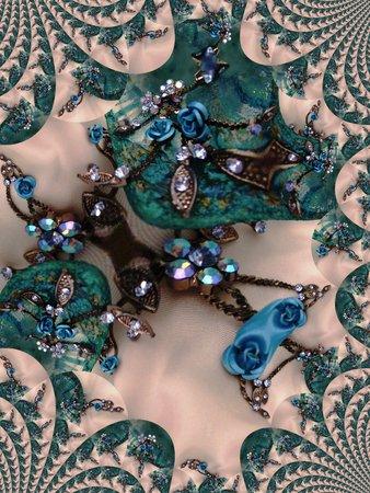 Blue rose and crystal necklace against aquamarine glass - fractal