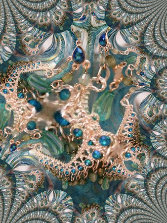 Chandelier earrings against aquamarine glass - fractal