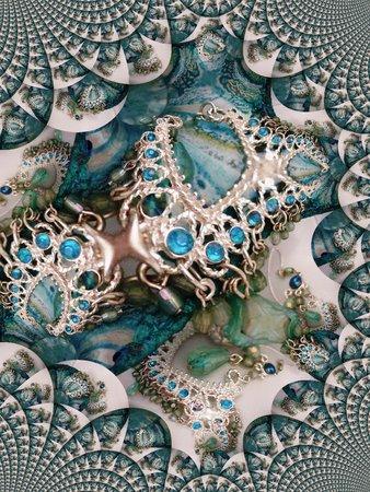 Kroonluchter oorbellen tegen aquamarine glas - fractal Stock Illustratie