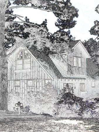 Rustikale Hütte - Schwarz-Weiß  Standard-Bild - 3424820
