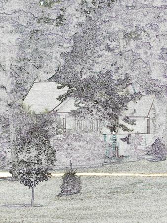 Hütte unter Bäumen und Sträuchern  Standard-Bild - 3424823