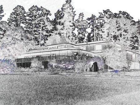 pavilion: Large rustic pavilion on a natural session - black and white Illustration
