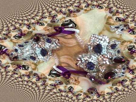 Small bell and purple cocktail ring on ornate white scarf - fractal map