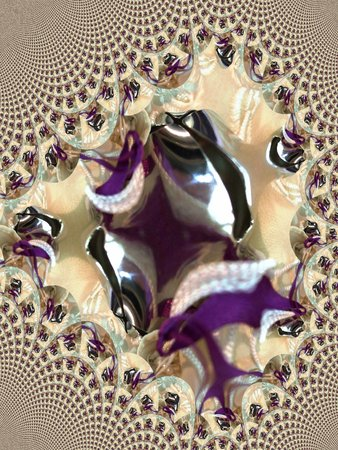Jingle bell on ornate white scarf - fractal map