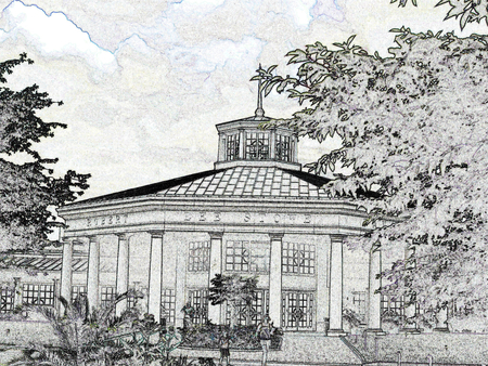 pavilion: Pavilion - black and white illustration Illustration