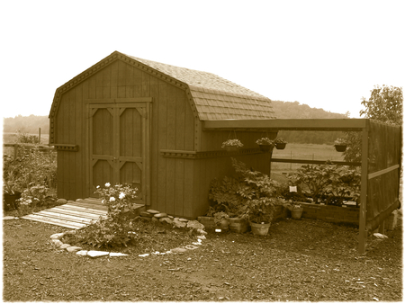 shed: Old-fashioned shed - sepia Illustration