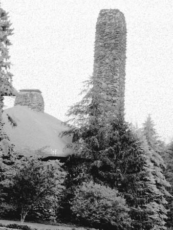 Cottage with a chimney in winter - pencil sketch Ilustração