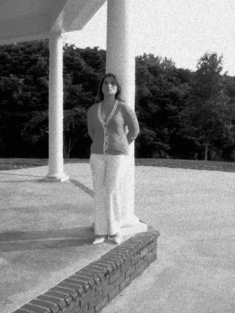 Woman near a column - pencil sketch