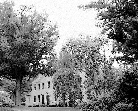Casa dietro gli alberi - schizzo matita Archivio Fotografico - 3490180