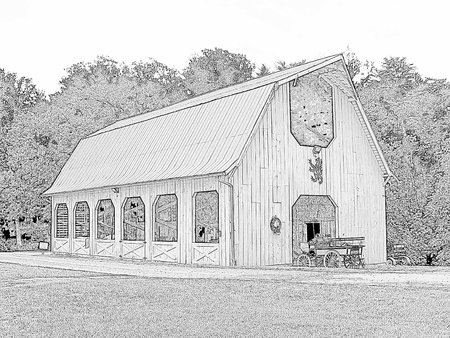 Old-fashioned barn - black and white illustration Çizim