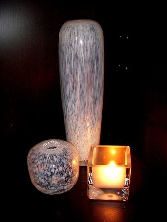 Candle and decorative vases