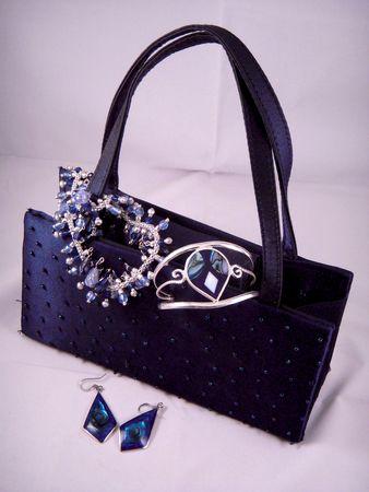 Dark blue evening purse and jewelry