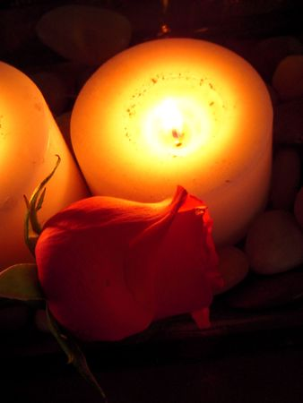Candles and rose photo