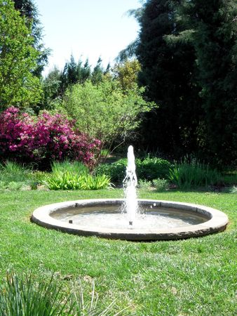Fountain surrounded by decorative shrub