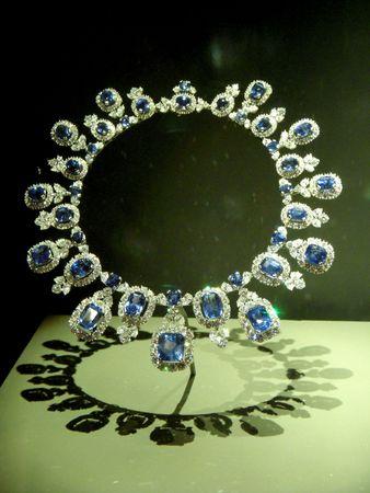diamond necklace: Diamond and sapphire necklace Stock Photo