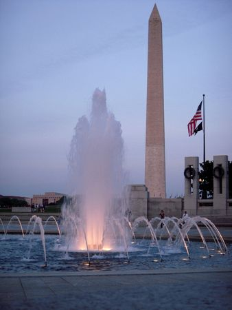 Washington monument and WWII memorial at dusk Stock Photo