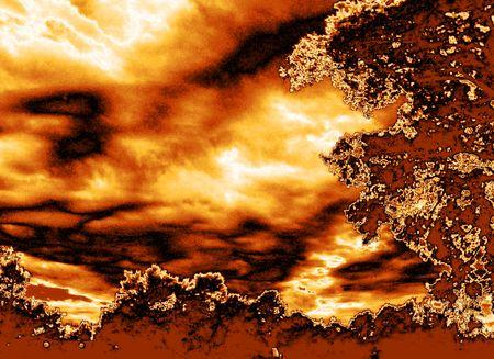 불타는 하늘 - 금속성 금지도가있는 흐린 하늘
