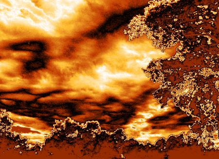 Fire in the sky - cloudy sky with metallic gold map applied Illusztráció