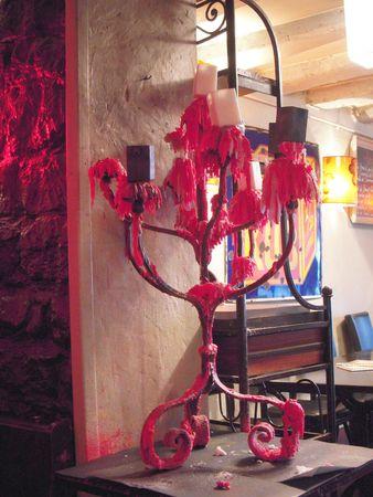 candelabra: Wax-covered candelabra