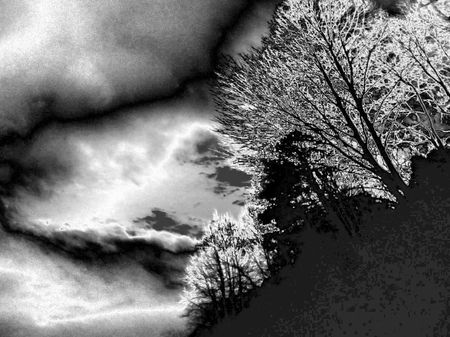 Fantastic landscapes - trees by the road with metallic map Stock fotó