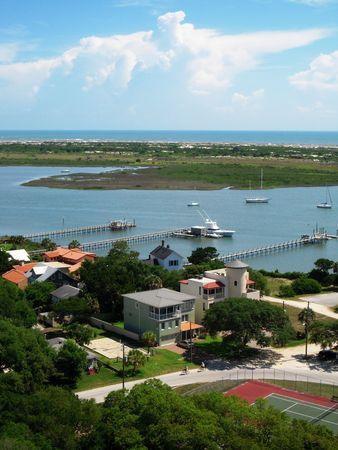 Uitzicht op de jachthaven van St. Augustine Stockfoto