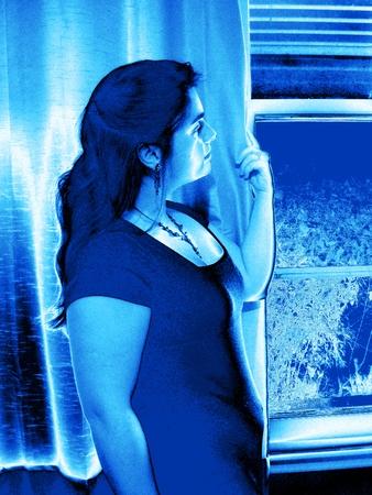 Portrait of a woman - metallic ice map