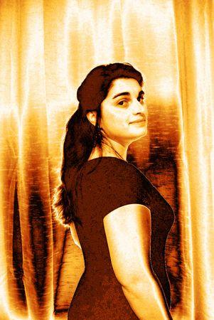 Portrait of a woman - gold metallic map Ilustrace
