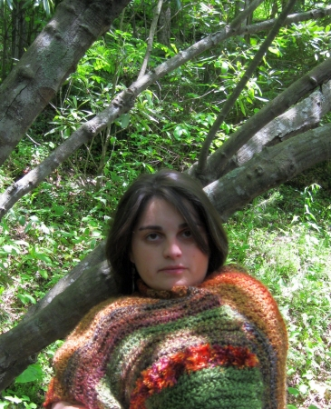 Young woman with a knit wrap photo