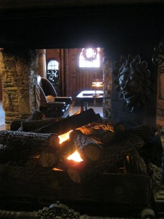 Biltmore Village, Asheville, NC - 13 oktober 2012 - een mooie open haard verwelkomt bezoekers in het Grand Bohemian Hotel