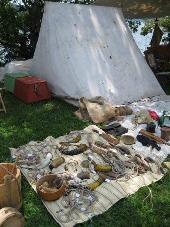 Fort Loudoun, TN - September 8, 2013 - Various period objects on display at Colonial Trade Fair in Fort Loudon