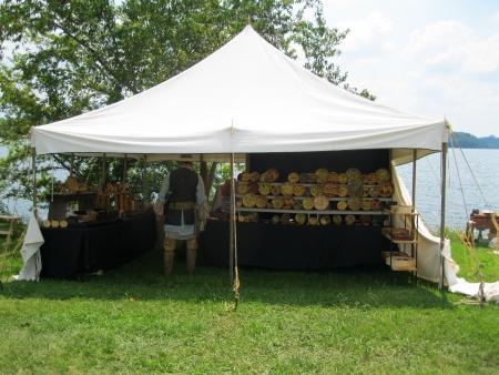 merchant: Fort Loudoun, TN - September 8, 2013 - Clay merchant displaying his wares at the Colonial Trade Fair at Fort Loudoun Editorial